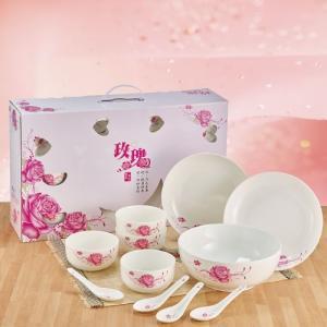 瓷器日式碗(4碗4匙2盤1碗公)玫瑰